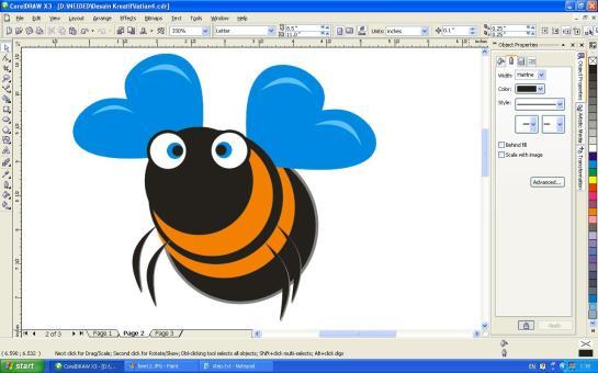 Gambar Lebah (Bee) dengan Corel Draw